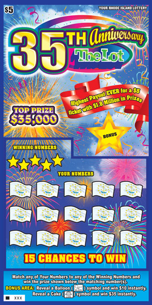 Sales start for the $5 35th Anniversary Instant Ticket, with a top prize of $35,000.