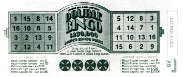 Double Bingo Instant Game launches. Features two games green and gold and costs $1