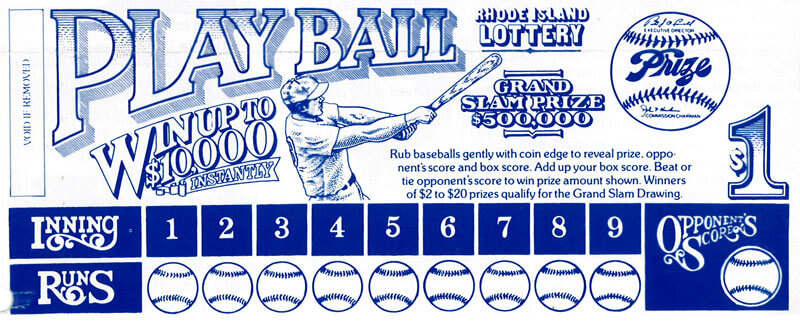 Rhode Island Lottery introduces its first Instant Ticket Play Ball for $1